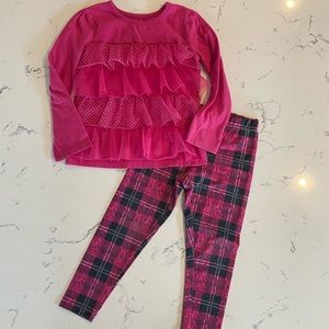 Other - Ruffe Top w/ Plaid Legging